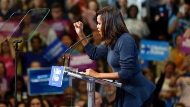 First lady Michelle Obama making a point.