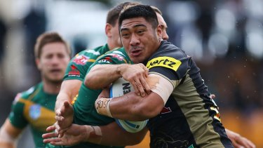 The rise of Moses: Penrith's Moses Leota takes on Wyong Roos in the Intrust Super Premiership.
