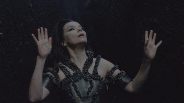 A scene from Bjork's music video for <i>Black Lake</i>, shot in Iceland with virtual reality technology.