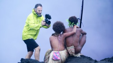 Bentley Dean films a scene from <i>Tanna</i> on a Vanuatu volcano.