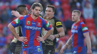 Lost season: Jake Mamo's face says it all for the hapless Knights.