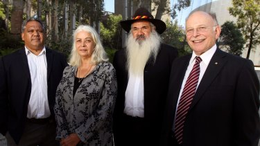 Members of the Indigenous Committee meet in Melbourne to discuss constitution changes in 2011. From left, Noel Pearson, Marcia Langton, Patrick Dodson and Mark Leibler.