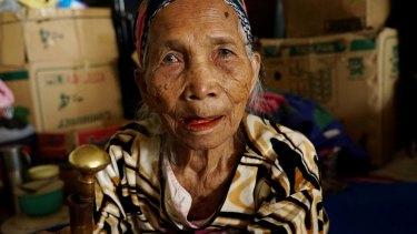 Kemban beru Sembiring, 95, seen at a refugee camp.