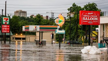 Parts of Austin are shown inundated after days of heavy rain.