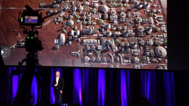 Elon Musk presents what he imagines a human colony on mars might look like.