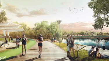 Impression of the greater Parramatta proposed redevelopment at Silverwater Park.