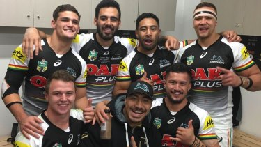 Panther pride: Seven members of Penrith's 2015 NYC winning side (clockwise from top left) Nathan Cleary, Tyrone May, Sione Katoa, James Fisher-Harris, Corey Hawawira-Naera, Moses Leota and Dylan Edwards.