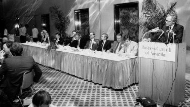 At the BCA launch in 1983. Pictured are: Don Hughes, John Cain, Bob White, Arvi Parbo, Bob Hawke, Milton Brideland, John Bannon, Cliff Allen and Andrew Peacock.