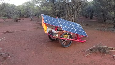 The solar panels that helped Sam complete his 1850km journey.