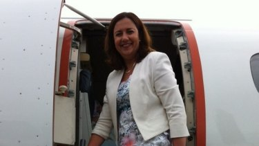 Opposition Leader Annastacia Palaszczuk prepares to leave Cairns for Townsville during the 2015 election campaign.