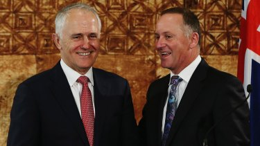 Malcolm Turnbull with his role model, John Key, in October.