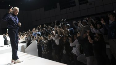 Dyson founder James Dyson unveils the Supersonic dryer to Japanese media earlier this year.