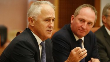 Prime Minister Malcolm Turnbull and Deputy Prime Minister Barnaby Joyce during a meeting of the government's Regional Ministerial Taskforce in the cabinet room in Parliament House on Tuesday.