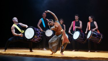 Taiko drummers and Indian dancers perform Chi Udaka, a vibrant show, matching integrity with entertainment.