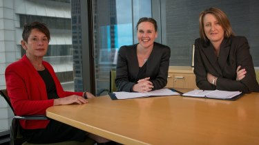 Newly appointed MFB Chair Andi Diamond (left), Emergency Services Minister Jane Garrett, CFA chair Claire Higgins.