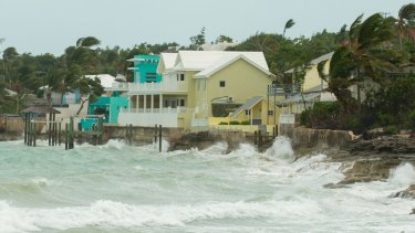 Rough seas start to pound the Florida coastline as Hurricane Irma moves through the Southern Bahama Islands.