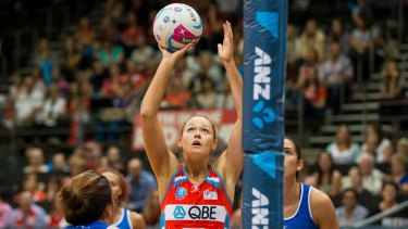 Preparing for the semi-finals: NSW Swifts sharpshooter Susan Pettitt against the Northern Mystics earlier this season.