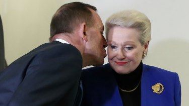 Mr Abbott kisses Bronwyn Bishop after she was replaced as speaker.