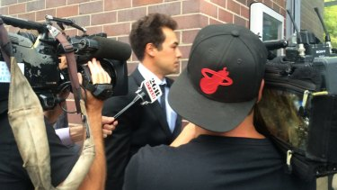 Nick Lindahl outside Burwood Local Court in January.