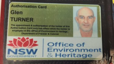 Glen Turner's Office of Environment and Heritage identity card.