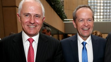 The competitors: Prime Minister Malcolm Turnbull and Opposition Leader Bill Shorten