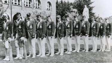 Paul Higgins, pictured sixth from left, as a schoolboy at Assumption College.