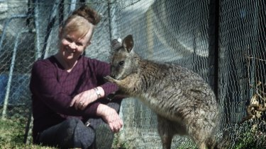 Professor Graves pictured in 2002 with a tammer wallaby, whose genome, or genetic blueprint, she helped to map.