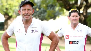 It's the Tony and Kevin Show! The old buddies arrive in Forbes during the 2016 Pollie Pedal tour.