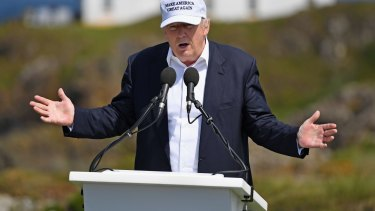 Bizarre press conference: Donald Trump at his Trump Turnberry Resort in Ayr, Scotland.