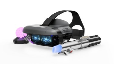Lenovo's Mirage AR headset, tracking orb and lightsaber.