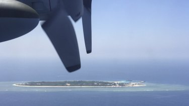 An aerial view of a Taiwan-controlled island in the South China Sea.