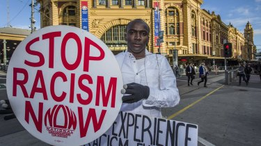 Jafri Katagar campaigning out the front of Flinders Street Station.
