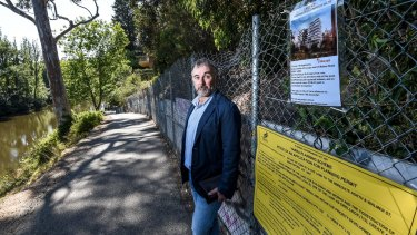 Yarra Riverkeeper Andrew Kelly, pictured in front of the Abbotsford site, says the proposed apartment tower is too high, and too close to the river's banks.