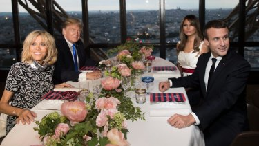 French President Emmanuel Macron his wife Brigitte Macron demonstrate how to exercise soft power, taking the Trumps to dinner in Paris.