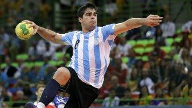 Argentina's Pablo Simonet tries to score.