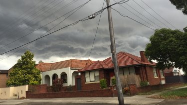Storm clouds over Sydney's inner west.
