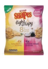 Arnott's Shapes Light & Crispy snack packs with '75 per cent less saturated fat claim'.