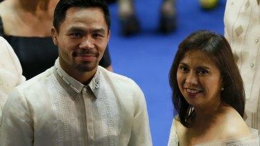 Filipino boxer and now senator Manny Pacquiao with Philippines Vice-President Leni Robredo.