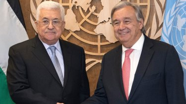 Palestinian President Mahmoud Abbas with United Nations Secretary General Antonio Guterres in September.