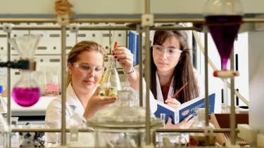 Sydney University students Emma Watson and Vicki Stanojevic. Watson says female researchers are all too aware of the future hurdles they would face in their careers.