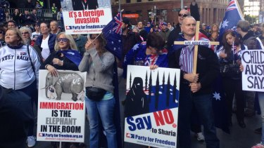 Protesters rally in Martin Place.