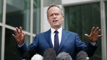 """""""When you look at the role that the United States' security plays in our region I am grateful for their presence"""": Opposition Leader Bill Shorten addresses the media."""
