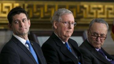 US House Speaker Paul Ryan, Senate Majority Leader Mitch McConnell and Senate Minority Leader Chuck Schumer.