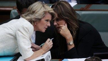 Julie Bishop says MPs upset with Peta Credlin should speak to the Prime Minister.