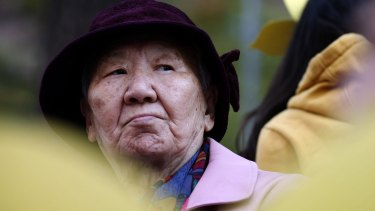 Kil Won-Ok, one of the former South Korean 'comfort women' at a protest in Seoul in 2014.