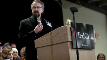 Coeur d'Alene pastor Tim Remington leads the prayer during the rally for Republican presidential hopeful Ted Cruz. He was shot  as he was leaving the Altar Church after Sunday services.