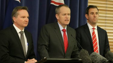 Shadow treasurer Chris Bowen, Opposition Leader Bill Shorten and opposition spokesman Jim Chalmers explain their support for the compromise savings bill on Tuesday.