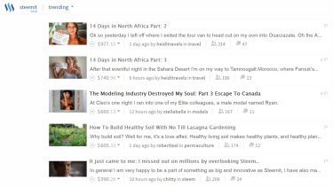'Trending' posts seen on the Steemit website, along with the amount each post has earnt its author in Steem.
