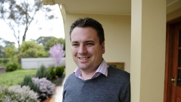 Jamie Briggs shortly after he won the Mayo byelection, 7 September 2008.