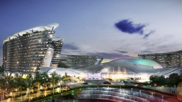 An artist's impression of the proposed $8 billion Aquis casino and resort in Cairns.